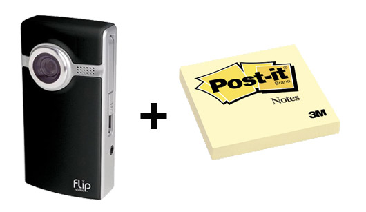 flip ultra hd and post it notes