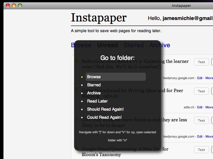 instapaper beyond go menu